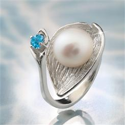 Holy Land Blue Topaz & Pearl Ring