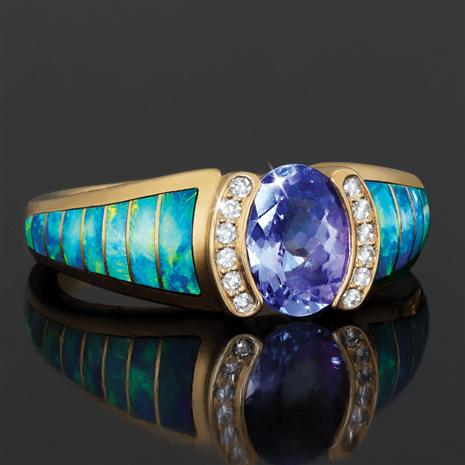 14K Yellow Gold Oval Tanzanite with Banded Opal (1.21 ctw)