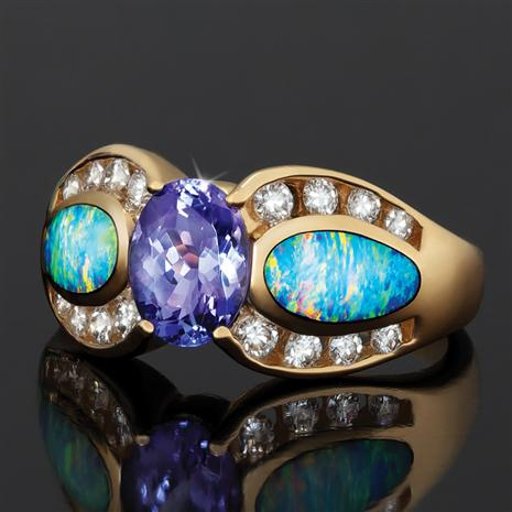 14K Yellow Gold Oval Tanzanite with Oblong Opal  (1.48 ctw)