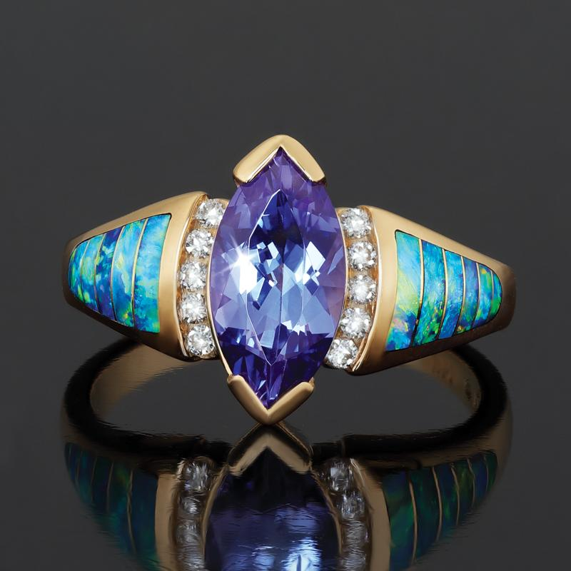 14K Yellow Gold Tanzanite & Opal Ring