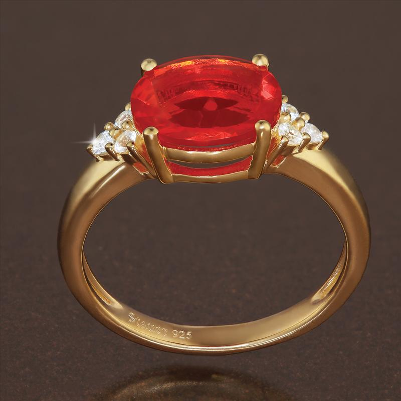 Fire Opal & White Sapphire Ring (1.76 ctw)