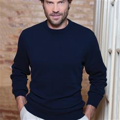 Italian-Made Cashmere Sweater/Navy Blue (crew-neck)