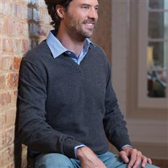 Italian-Made Cashmere Sweater/Antarctic Gray (v-neck)