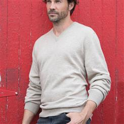 Italian-Made Cashmere Sweater/Beige (v-neck)