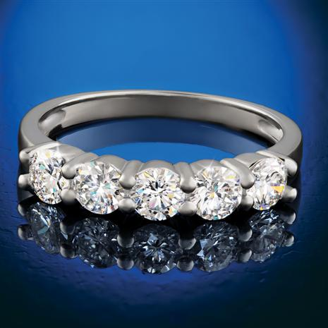 Sterling Silver Lab-Created Diamond 5-Stone Ring (1 ctw)