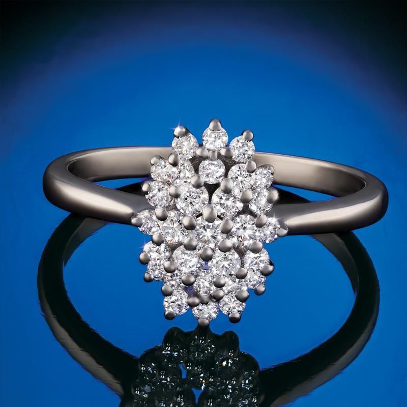 Sterling Silver Lab-Created Diamond Cluster Ring (1/2 ctw)