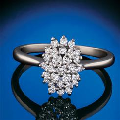 14K White Gold Lab-Created Diamond Cluster Ring (1/2 ctw)