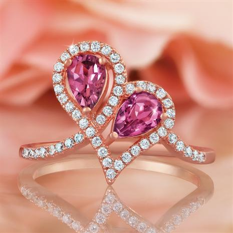 Pink Tourmaline Heart to Heart Ring