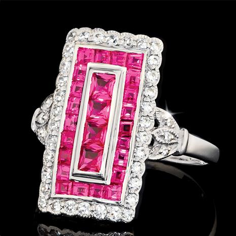 Jazz Age Ring Ruby Red