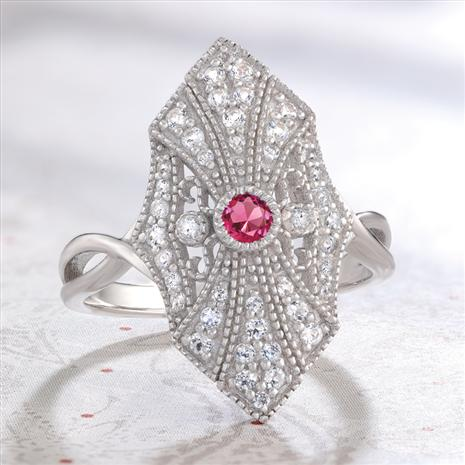 Red Emerald Deco Ring