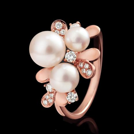14K Rose Gold Akoya Pearl & Diamond Ring