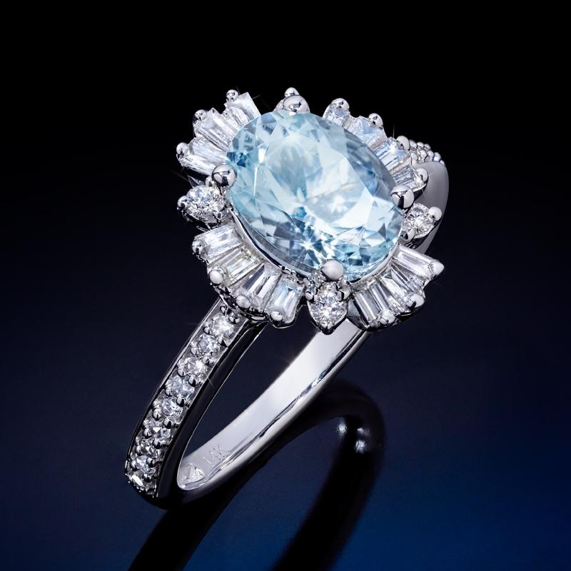 14K White Gold Aquamarine & Diamond Ring 1-1/2 ctw