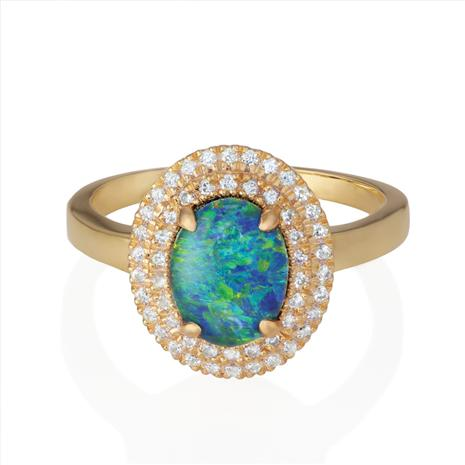 Rainbow's End Opal Triplet Ring