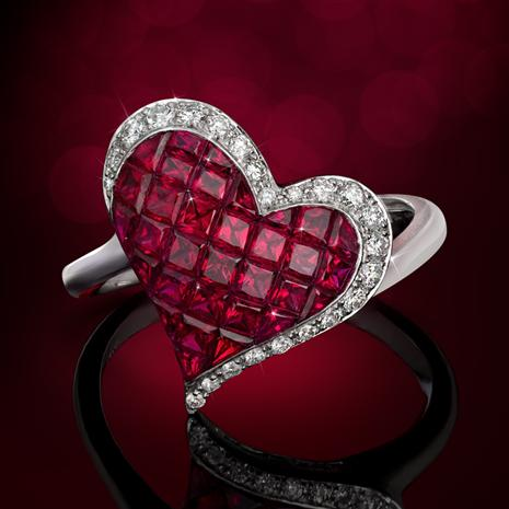 14K White Gold Ruby & Diamond Heart Ring
