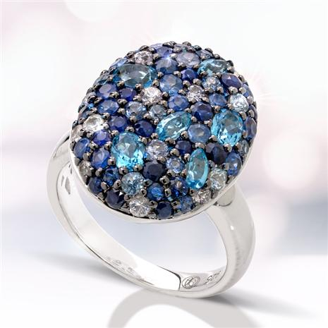 Sterling Silver Sapphire & Blue Topaz Ring