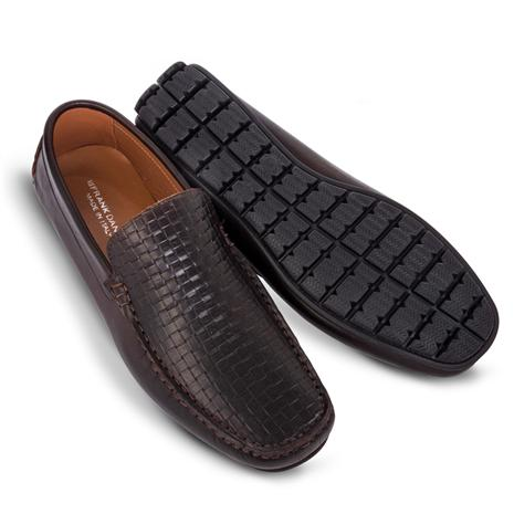 Amalfi Driving Shoes-Woven Loafer (Dark Brown)
