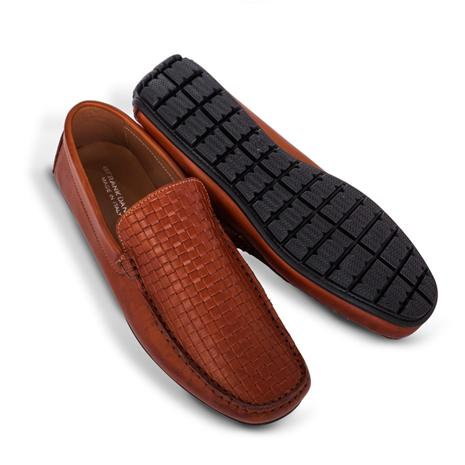 Amalfi Driving Shoes - Woven Loafer - Brown